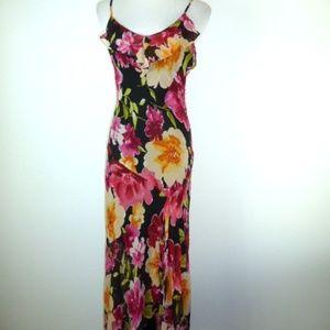 SUE WONG silk black floral party dress 2